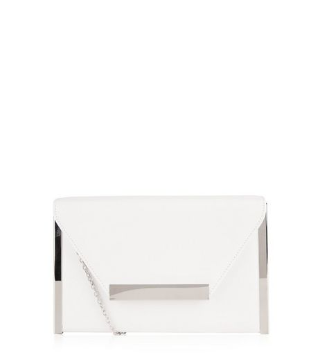 White Metal Trim Clutch | New Look