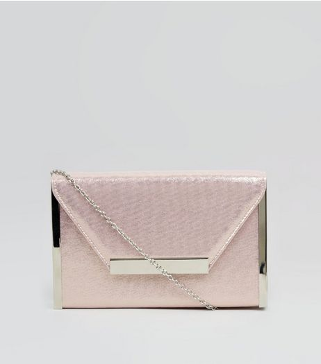 Pink Glitter Metal Trim Clutch  | New Look
