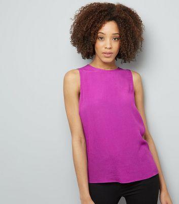 Purple Tie Back Sleeveless Top