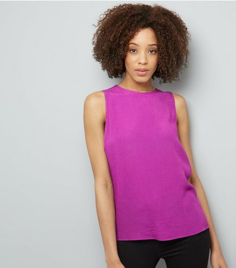 Purple Tie Back Sleeveless Top  | New Look