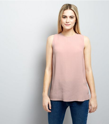 Shell Pink Tie Back Vest | New Look