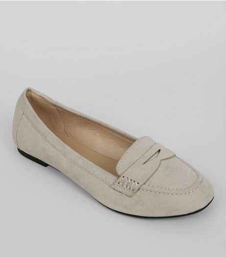 Wide Fit Grey Suedette Loafers | New Look