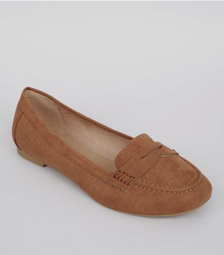 Wide Fit Tan Suedette Loafers  | New Look
