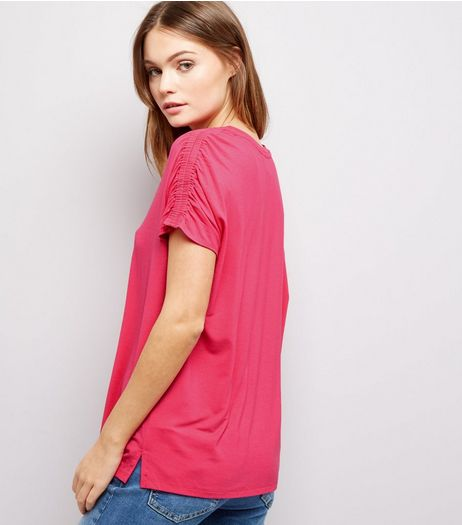 Pink Ruched Shoulder T-Shirt | New Look