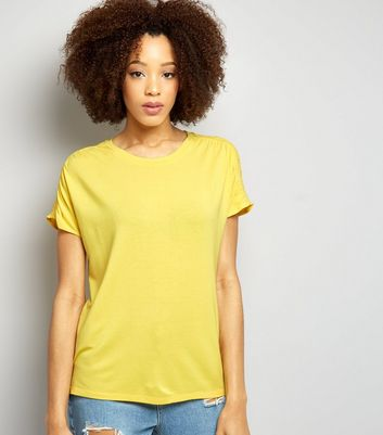 Yellow Ruched Shoulder T-Shirt