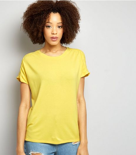 Yellow Ruched Shoulder T-Shirt   | New Look