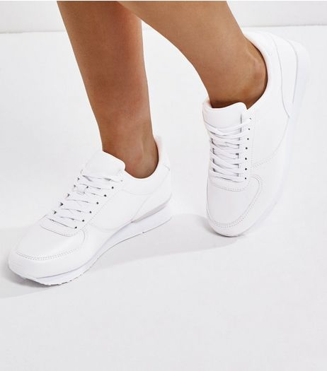 Wide Fit White Lace Up Trainers  | New Look
