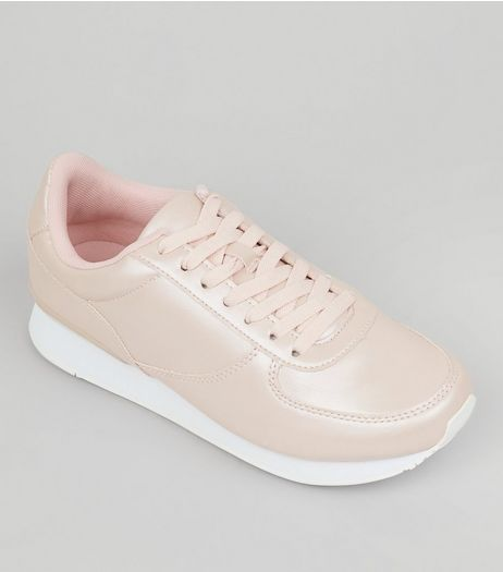 Wide Fit Pink Metallic Trainers | New Look