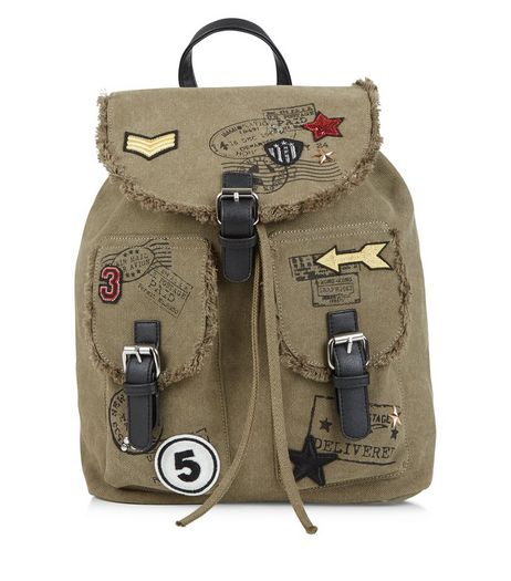 Khaki Utility Canvas Badge Backpack | New Look