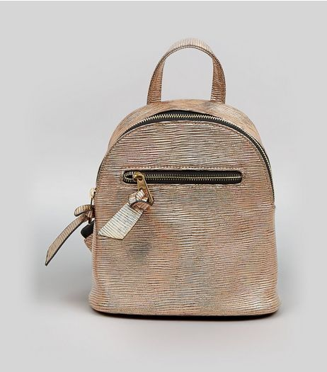 Bronze Holographic Curved Mini Backpack  | New Look