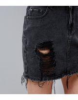 Teens Black Ripped Mini Denim Skirt