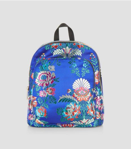 Bright Blue Sateen Floral Jaquard Mini Backpack | New Look