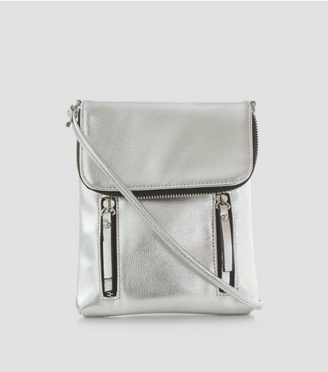 Silver Metallic Double Zip Pocket Front Cross Body Bag | New Look
