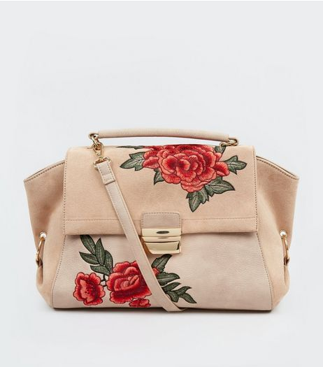 Nude Pink Suedette Panel Floral Embroidered Satchel | New Look