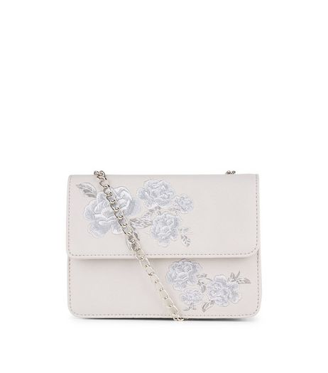 Grey Floral Embroidered Shoulder Bag | New Look