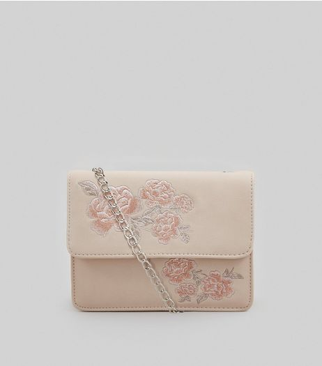 Pink Floral Embroidered Shoulder Bag | New Look