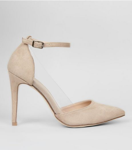 Nude Pink Suedette Clear Side Ankle Strap Heels | New Look