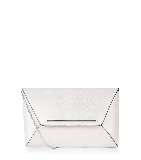 Silver Metallic Envelope Clutch Bag | New Look