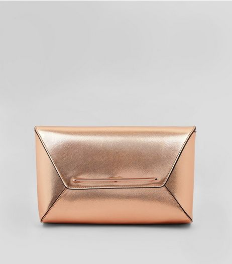 Rose Gold Metallic Envelope Clutch Bag | New Look