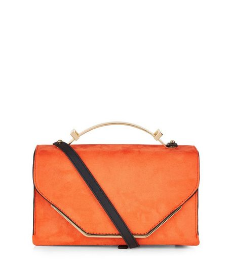Orange Suedette Metal Handle Bag | New Look
