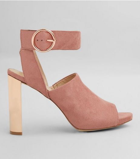 Pink Suedette Peep Toe Metal Block Heels | New Look