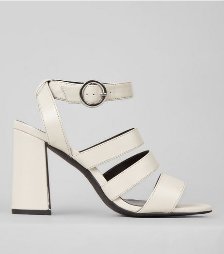 White Strappy Metal Trim Flared Heel Sandals | New Look