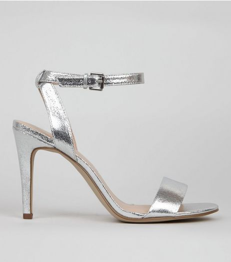 Silver Crackle Metallic Ankle Strap Heels | New Look
