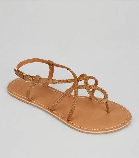 Wide Fit Tan Leather Plaited Sandals | New Look