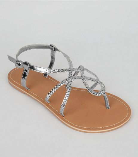 Wide Fit Silver Leather Plaited Sandals | New Look