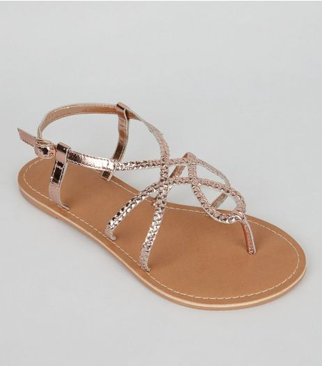 Wide Fit Rose Gold Leather Plaited Sandals | New Look