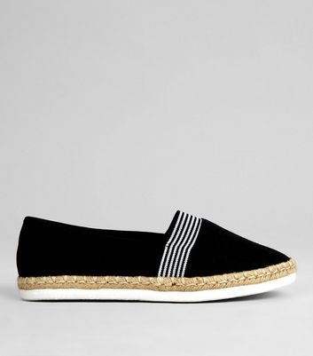 Wide Fit Black Contrast Stripe Canvas Espadrilles | New Look