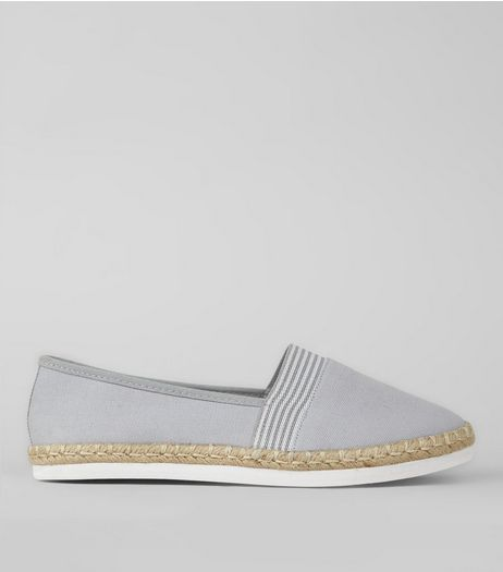 Wide Fit Grey Contrast Stripe Canvas Espadrilles | New Look