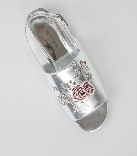 Wide Fit Silver Patent Embroidered Mules  | New Look