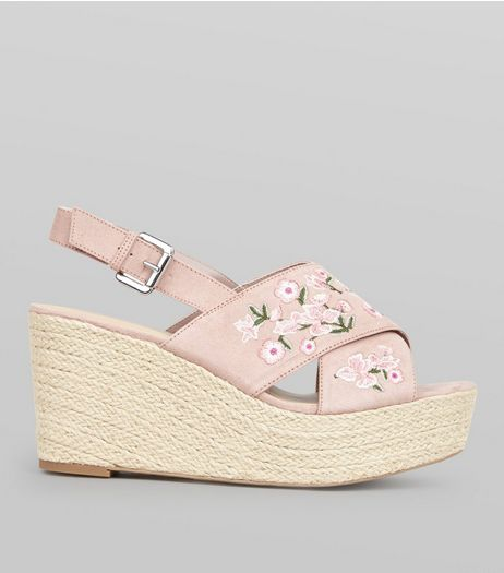 Wide Fit Pink Floral Embroidered Cross Strap Wedges | New Look