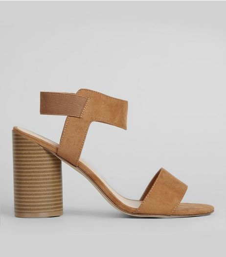 Wide Fit Tan Suedette Elasticated Sling Back Heels | New Look