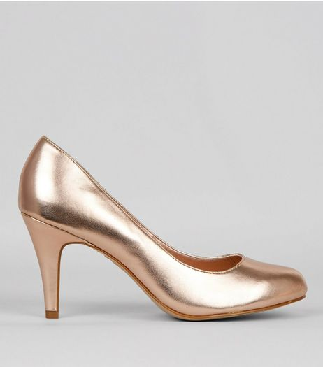 Wide Fit Rose Gold Court Shoes | New Look