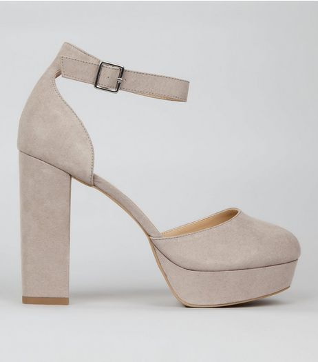 Wide Fit Grey Suedette Platform Heels | New Look