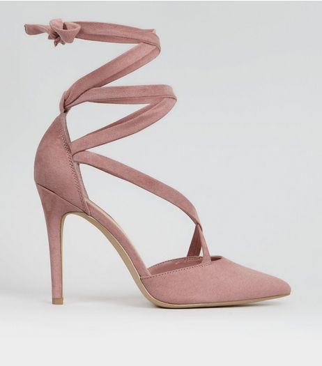 Pink Suedette Strappy Pointed Heels | New Look