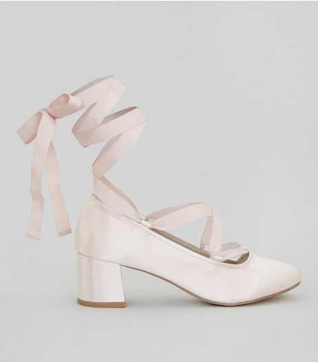 Nude Pink Satin Ankle Tie Block Heels | New Look
