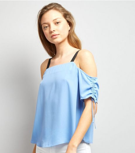 Blue Ruched Sleeve Top | New Look