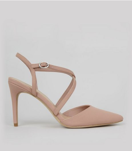 Shell Pink Pointed Cross Strap Heels | New Look