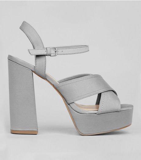 Wide Fit Grey Satin Cross Strap Platform Heels | New Look