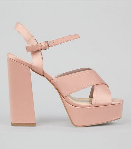 Wide Fit Pink Satin Cross Strap Platform Heels | New Look