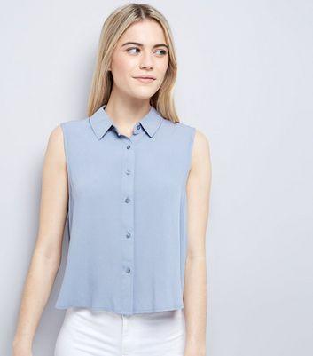 Blue Cropped Sleeveless Shirt
