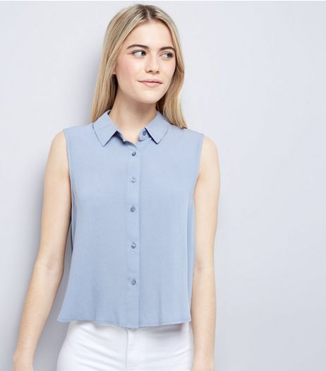 Blue Cropped Sleeveless Shirt  | New Look