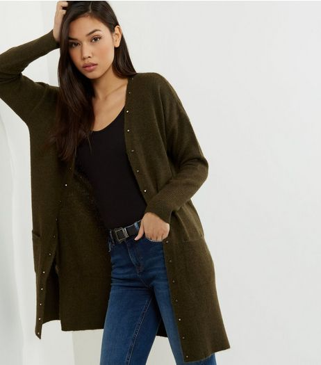 Khaki Ribbed Stud Trim Longline Cardigan  | New Look