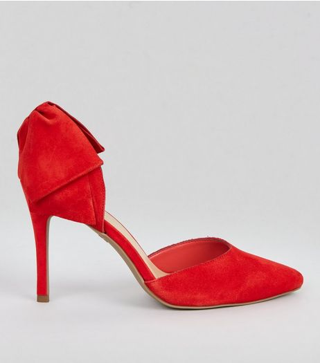 Red Suede Bow Back Pointed Heels | New Look