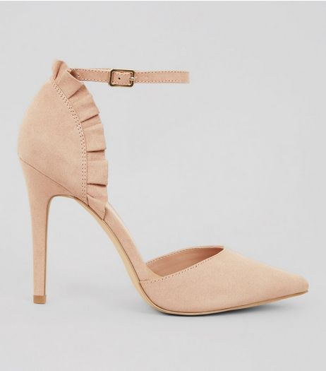 Nude Suedette Frill Trim Pointed Heels | New Look