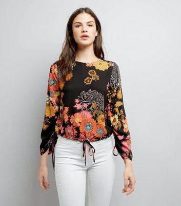 Black Floral Print Ruched Side Top