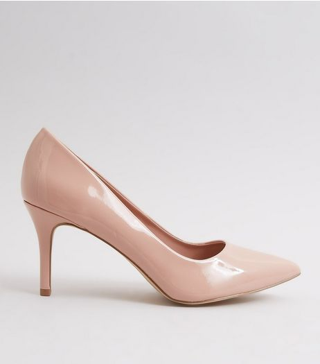 Nude Pink Patent Pointed Court Shoes | New Look
